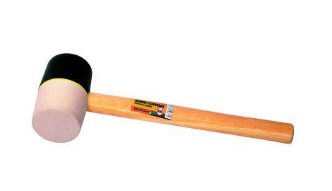 Киянка Mastertool - 450 г х 60 мм, черно-белая резина, ручка деревянная, 093291