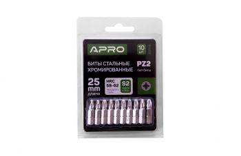 Бита Apro - PZ2 x 25 мм, хром (10 шт.)